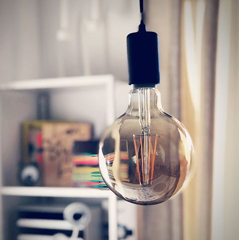 close up of light bulb hanging at home