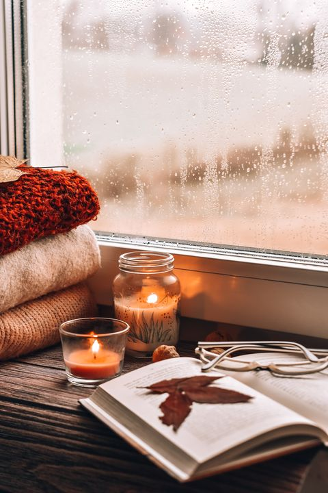 fall activities lit candles on table