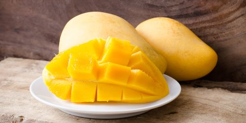 close up of mango slices in plate on table