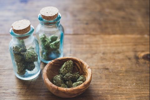 Close-Up Of Marijuana In Jar On Table