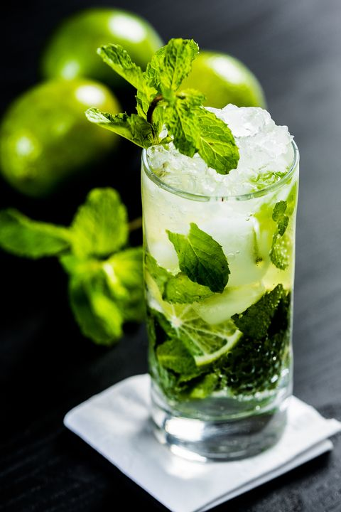 close up of mojito on table