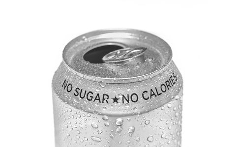 close up of open sugar free calorie free soda can