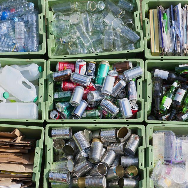close up of organized recycling bin