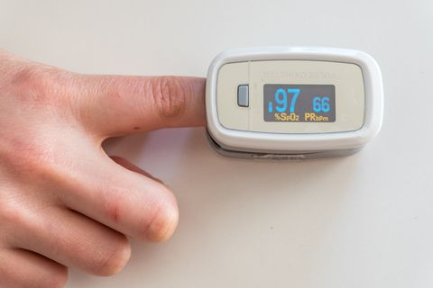 close up of patient using pulse oxymeter
