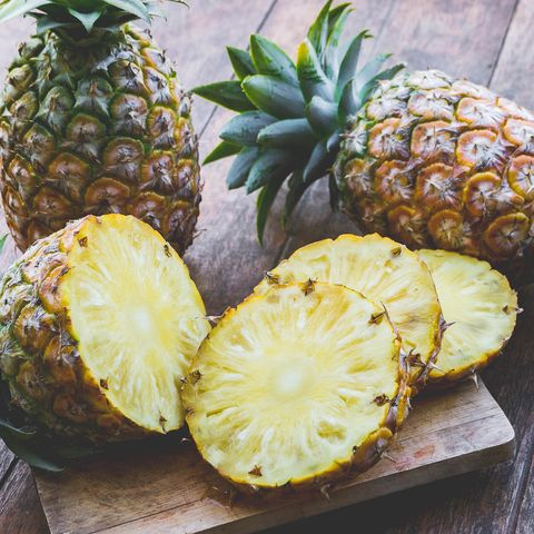 Close-Up Of Pineapple Slices On Table