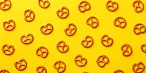 Close-Up Of Pretzels On Yellow Background