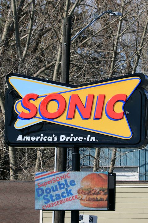 close up of sonic drivein sign