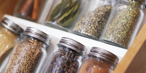 close up of spices in jars