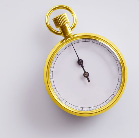 close up of stopwatch on white background