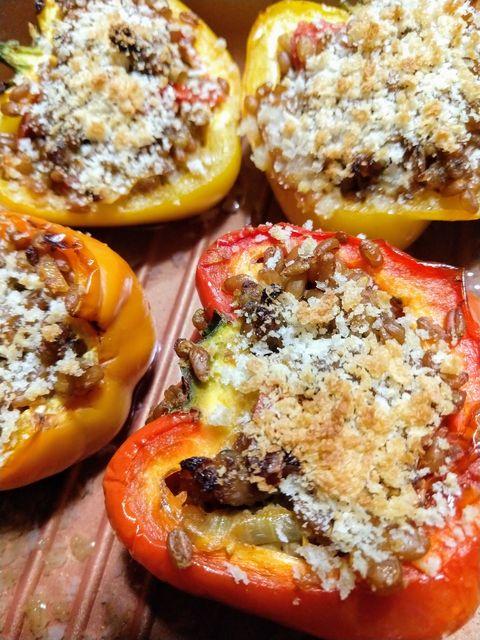 closeup of stuffed peppers