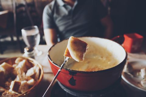 close up of swiss cheese fondue