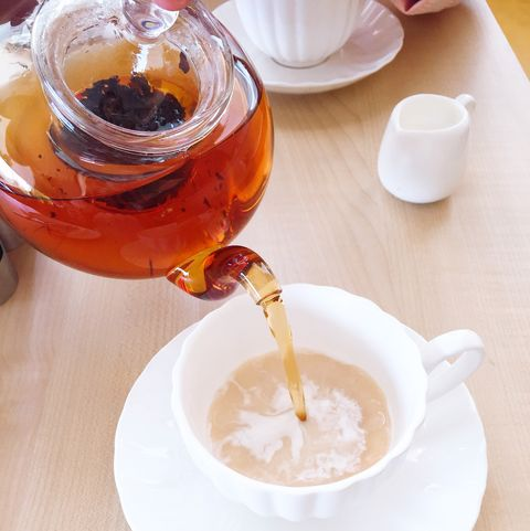 close up of tea being poured