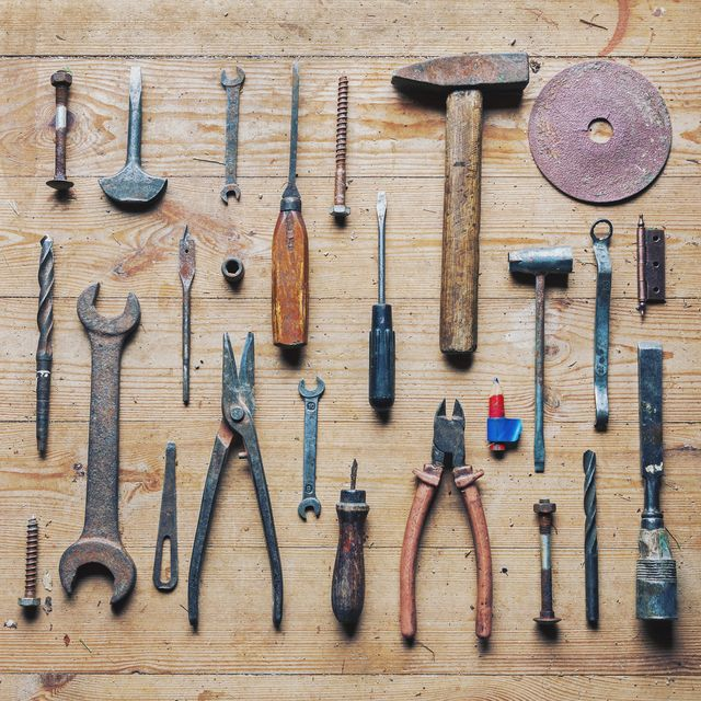 Starter tool kit for homeowners and renters: saws, hammers, drills, knives, screwdrivers, wrenches, pilers