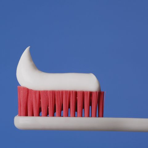 close up of toothpaste on a toothbrush