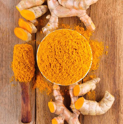 Close-Up Of Turmeric In Bowl And Spoon On Table