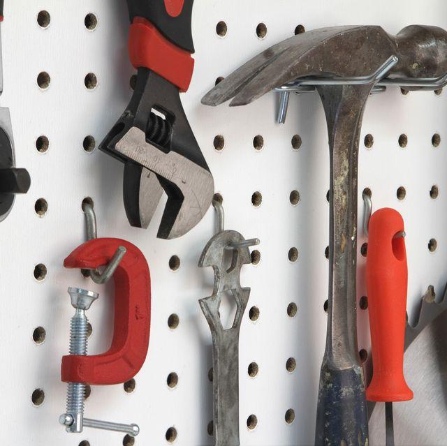 closeup of various tools hanging