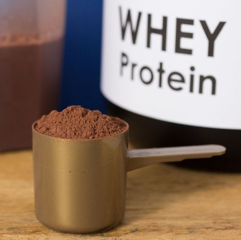 close up of whey protein in spoon on table