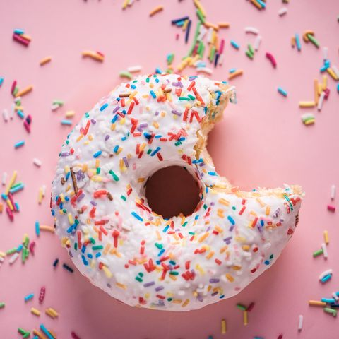 frosted donut with sprinkles