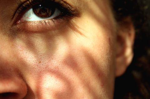 close up of woman eye and cheek