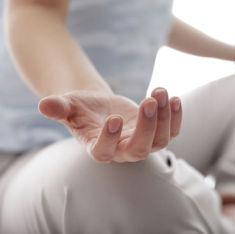 Close up of woman practicing yoga