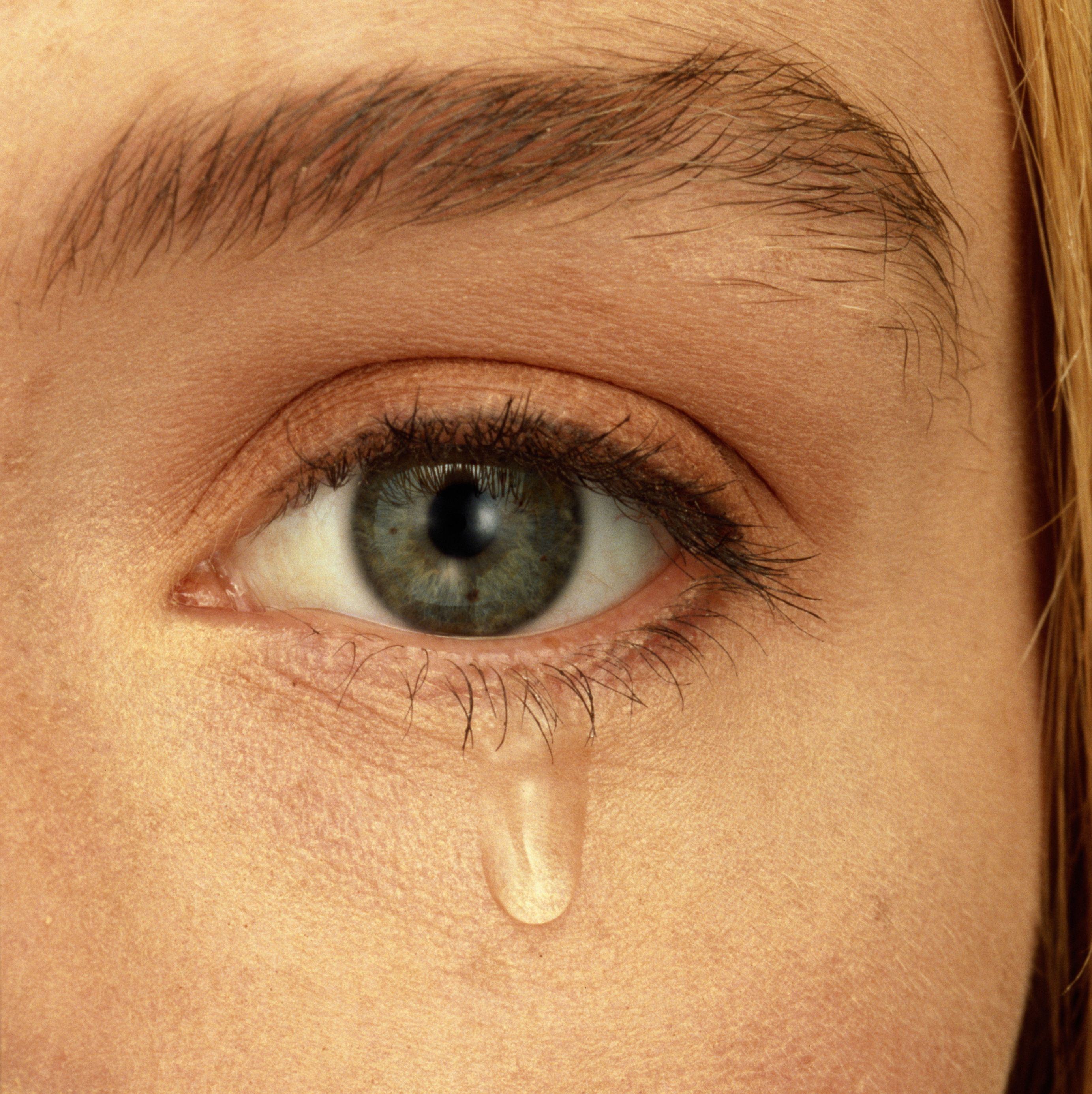 Close Up Of Womans Face With Teardrop Falling From Eye