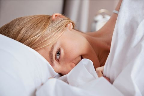 Close up of young woman in bed