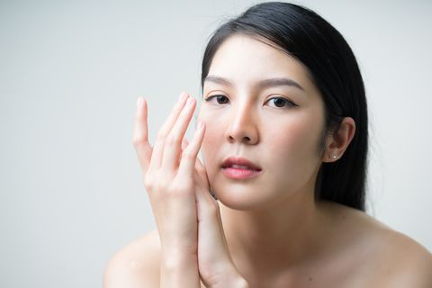Close up portrait asian female for beauty product