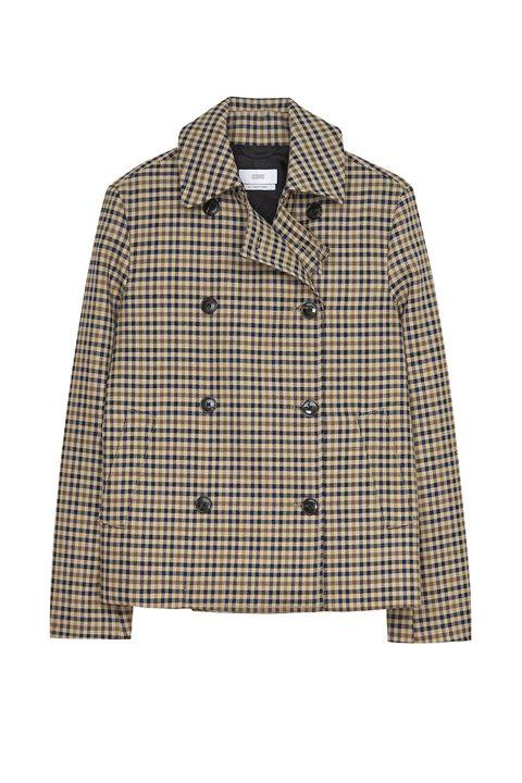 Clothing, Outerwear, Plaid, Pattern, Sleeve, Tartan, Beige, Jacket, Design, Collar,