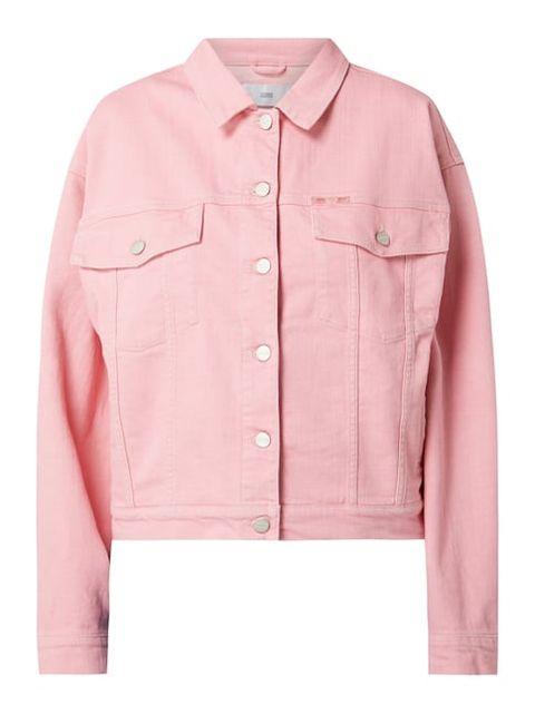 closed oversized roze spijkerjack