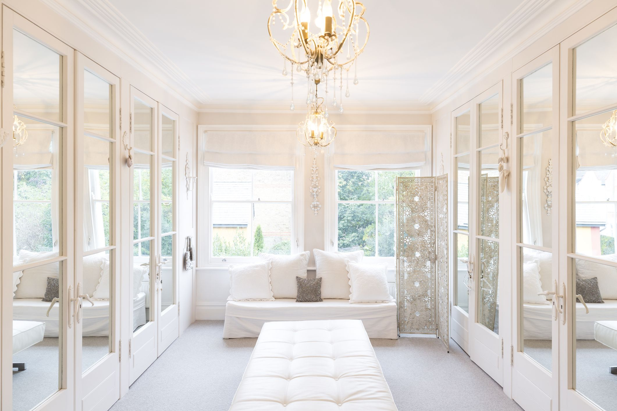 White, Luxury Home Showcase Interior Dressing Room With Mirrored Closets