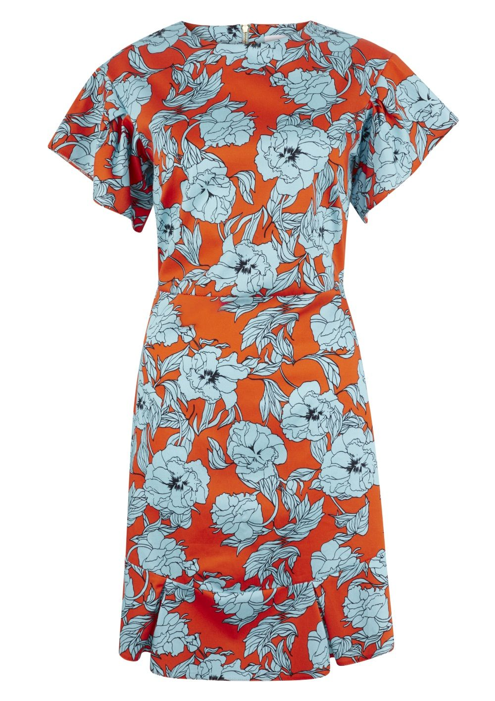 Closet London Orange Floral Frill Sleeve & Hem Dress, Best Summer Dresses