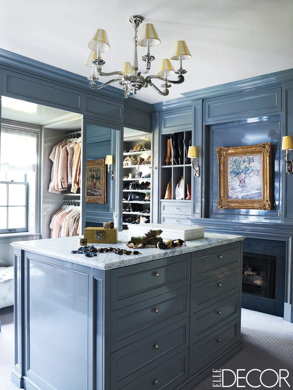 blue island in walk in closet