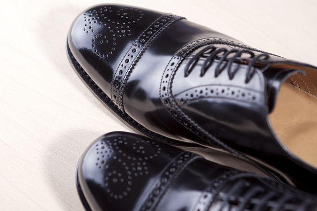 closeup of brand new fahionable male classic oxford semi brogue shoes