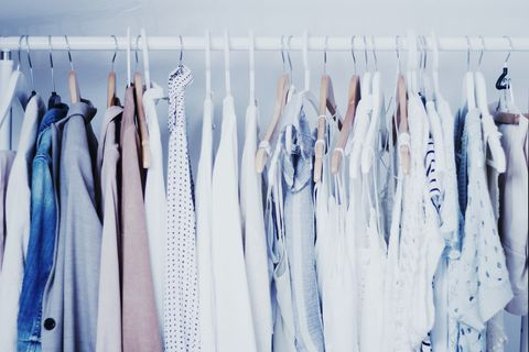 Blue, Clothes hanger, Room, Dry cleaning, Denim, Textile, Fashion design, Ice, Jeans, Shirt,