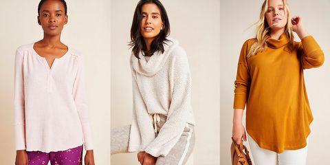 Clothing, Shoulder, Fashion, Neck, Orange, Outerwear, Sweater, Fashion model, Sleeve, Top,