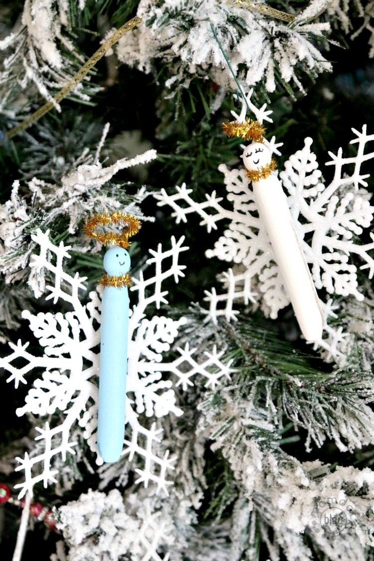 diy clothespin angel ornaments