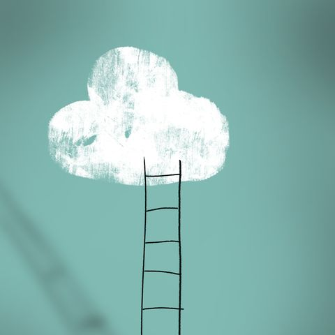 cloud and ladder   achieving dreams concept