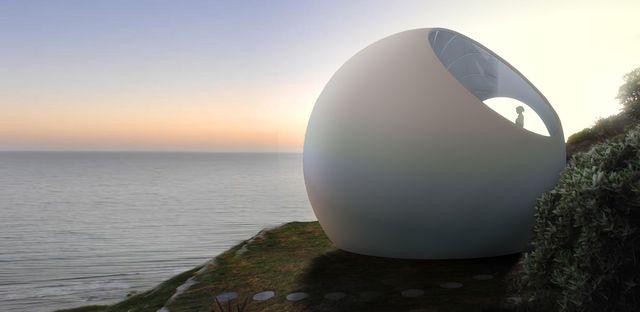 una minicasa con forma de esfera para ubicar en cualquier entorno de clouds architecture office