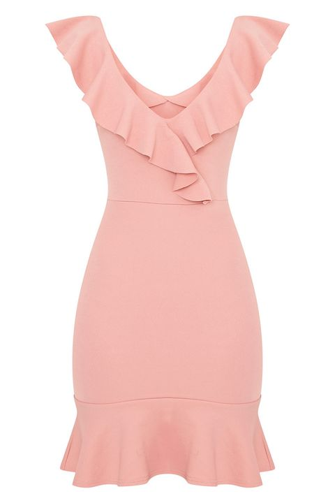 Clothing, Pink, Dress, Cocktail dress, Day dress, Peach, Ruffle, Neck, Sleeve, Fashion accessory,