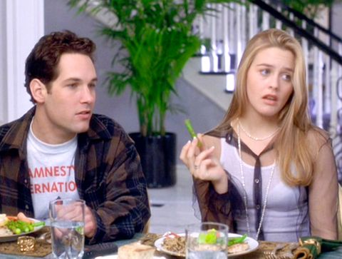 "los angeles   july 21 the movie ""clueless"", written and directed by amy heckerling seen here from left, paul rudd as josh and alicia silverstone as cher horowitz theatrical wide release, friday, july 21, 1995 screen capture paramount pictures photo by cbs via getty images"