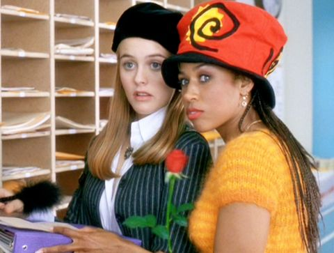 "los angeles   july 21 the movie ""clueless"", written and directed by amy heckerling seen here from left, alicia silverstone as cher horowitz and stacey dash as dionne davenport  theatrical wide release, friday, july 21, 1995 screen capture paramount pictures photo by cbs via getty images"