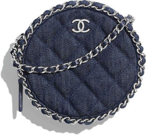 Chanel丹寧布圓形肩揹包