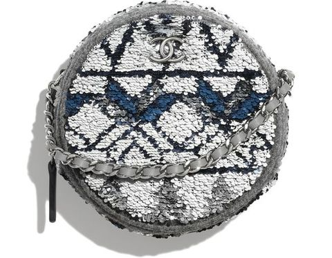 Chanel羊毛亮片圓形肩揹包