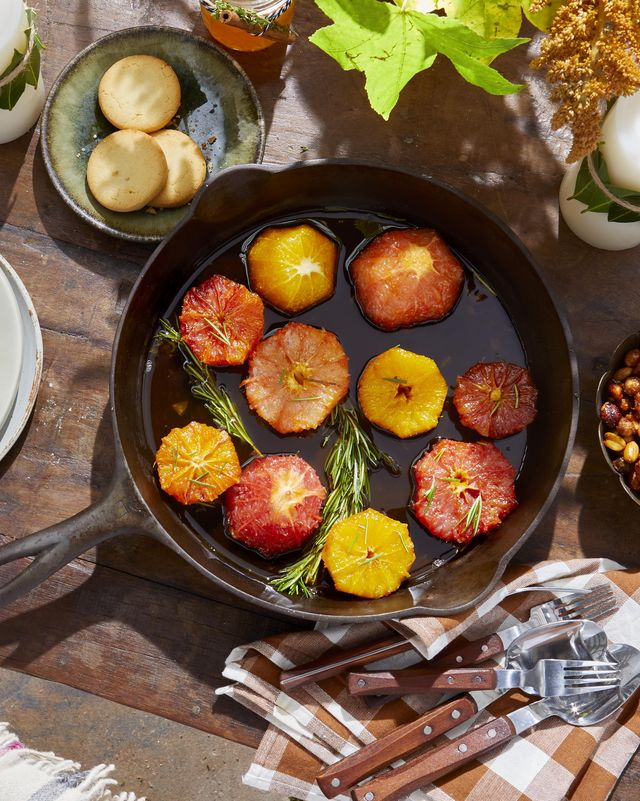 sugared citrus in rosemary syrup