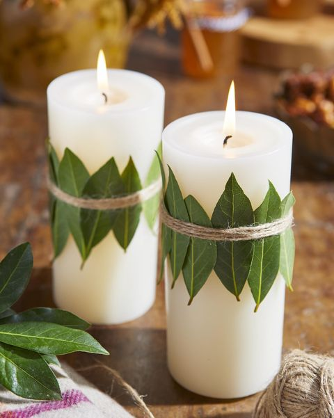 bay leaf wrapped candles