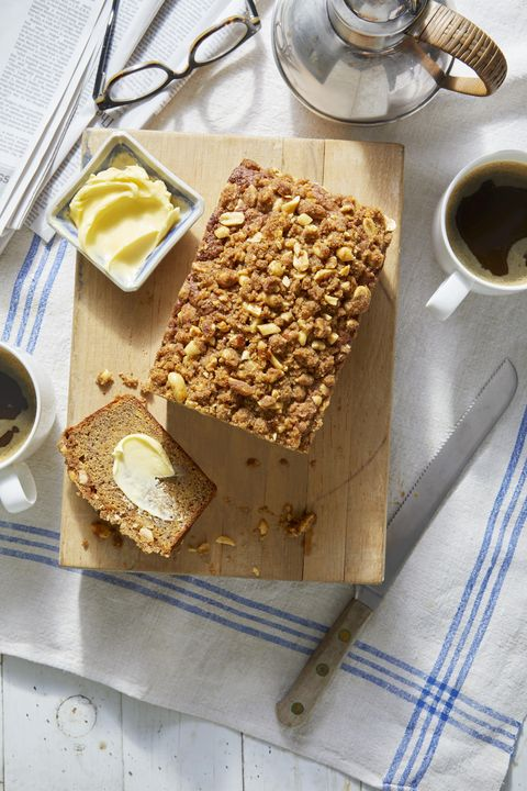 banana bread with salted peanut streusel