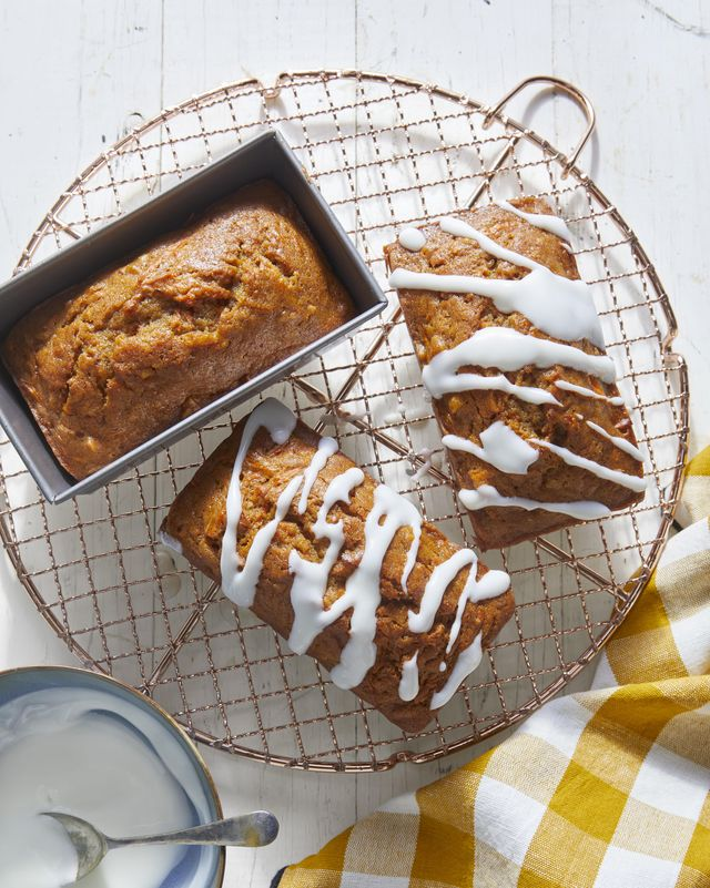 carrot nut bread with sour cream glaze