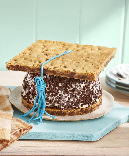 mortarboard chocolate chip ice cream cake