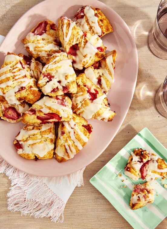 strawberry scones with amaretto glaze