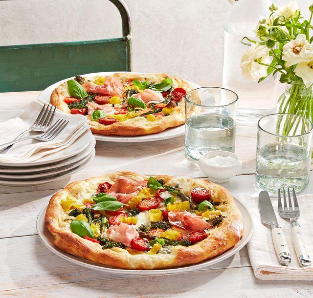 california roasted broccolini, grape tomato, and fresh mozzarella pizza